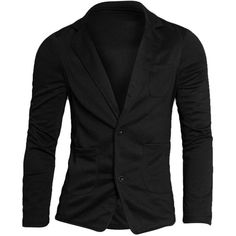Mens Fashion Simple Design Two Pockets Front Two Buttons Long Sleeve... (58 PLN) ❤ liked on Polyvore featuring men's fashion, men's clothing, men's sportcoats, men, men's sportcoats and blazers, mens blazer jacket, mens clothing, mens gray blazer and mens grey blazer