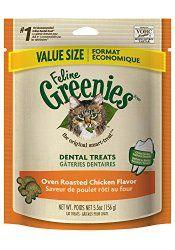 FELINE GREENIES Dental Treats for Cats Oven Roasted Chicken – 5.5 oz.