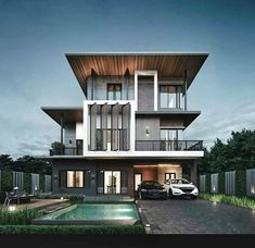 Via: ▪ Amzing Residence 📐 by Natural Home & Render by 📍Location in Bangkok, Thailand - Turn ON Post… Archi Design, Facade Design, Villa Design, Modern House Design, Contemporary Design, Contemporary Architecture, Interior Exterior, Exterior Design, Room Interior