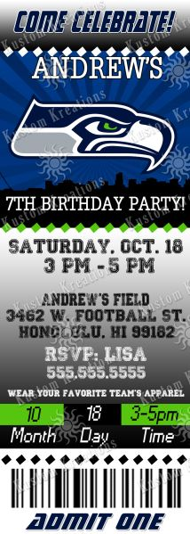 96 Amazing Nfl Birthday Invitations Images 2nd Birthday