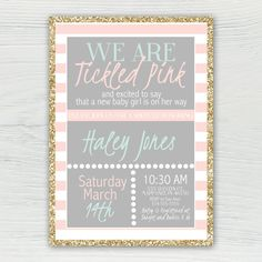 Tickled Pink Baby Shower Invitation Mint by JordanSantosDesign