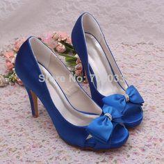 New Arrival Custom Royal Blue Wedding Shoes Ladies Bridal High Heel Sandals Free Shipping Dropship