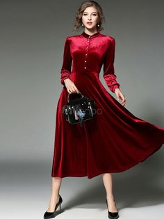 Burgundy Maxi Dress Stand Collar Long Sleeve Pleated Long Dress