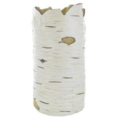 """10 1/2"""" White Polyresin Birch Look Container 
