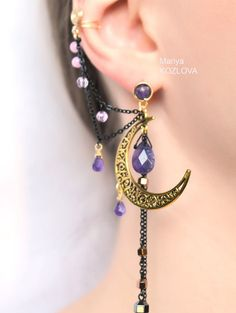 SALE Shining Gold Night Ear Cuff with Fairy by LotEarCuffs on Etsy