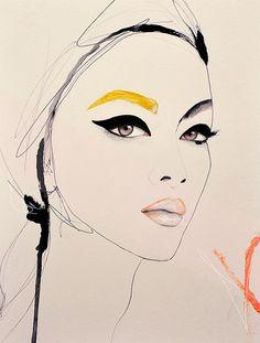 Porteur  Fashion Illustration Art Print femme par LeighViner