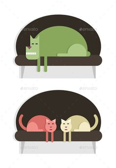 Resting pets, dog and two cats on the sofa, set of two images, flat style, vector cartoon illustration