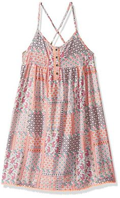450e1075dde Amazon.com  Tommy Hilfiger Big Girls  Button Front Boho Print Dress   Clothing