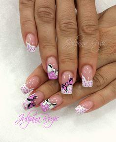 White and pink Acrylic Nails, Salon Nails, Nail Designs, Make Up, Nail Art, Perms, Hair Colors, Diana, Ideas