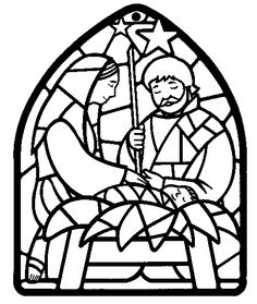 Nativity Coloring Page use for stain glass Arts Crafts