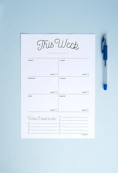 Free Download: Printer Friendly Weekly Planner - 2018 - Minimal Ink-Saving Weekly Planner With To-Do List - Black and White Planner Printable