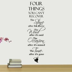 Shop Low Prices on: Decal the Walls Four Things You Can't Recover Quote Wall Decal : Decor