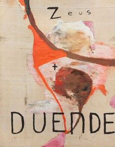 "Julian Schnabel Untitled (Zeus and Duende)  oil on tarp, 240 x 180"", 1993"