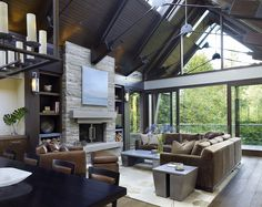 Rustic Sunroom – Two Hands Interiors – Stone fireplace living room Stone Fireplace Surround, Natural Stone Fireplaces, Rustic Sunroom, Natural Stone Cladding, Living Room Designs, Living Spaces, Rustic Coffee Tables, Built In Bookcase, Living Magazine