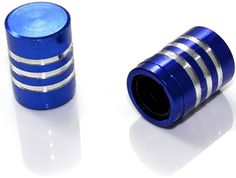 "Amazon.com : (2 Count) Cool and Custom ""Smooth Stripes with Easy Grip Shape"" Tire Wheel Rim Air Valve Stem Dust Cap Seal Made of Genuine Anodized Aluminum Billet Metal {Dark BMW Blue and Silver Colors - Hard Metal Internal Threads for Easy Application - Rust Proof - Fits For Most Cars, Trucks, SUV, RV, ATV, UTV, Motorcycle, Bicycles} : Sports & Outdoors"