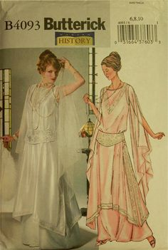 """Tunic, Gown & Girdle - 1914 Reproduction - Butterick Pattern 4093 Uncut Sizes  6-8-10   Bust 30.5-31.5-32.5"""""""