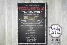Diaper Party Invitation Pizza & Pampers by simplyprintable on Etsy