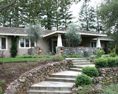 Craftsman Style Ranch Entry- Stone Stucco One Story...Great way to spruce up the front of a typical ranch.