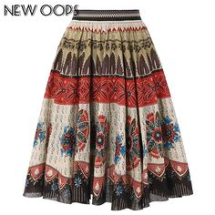 ec7eaf51f4e8 US $15.99 |NEW OOPS Retro Floral Printed Midi Skirts 2017 Winter High Waist  Knee Length Pleated Ethic Vintage Skirt Women Saias A1610064-in Skirts from  ...