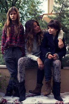 mom + kids.