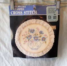 "DESIGNS FOR THE NEEDLE BLUE FLORAL 7""  STAMPED CROSS STITCH EMBROIDERY KIT #3708 #DesignsfortheNeedle #Frame"