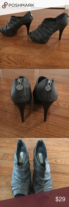Simply Vera Vera Wang Peep Toe Shoes Worn once! Grey patent leather peep toe booties. Simply Vera Vera Wang Shoes Ankle Boots & Booties