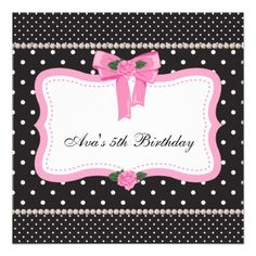 Pink Roses Pink Black Girls 5th Birthday Party Custom Invites