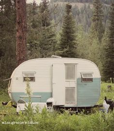 Dalton travel trailer - vintage camper remodel - great details & photos <O> Old Campers, Vintage Campers Trailers, Retro Campers, Vintage Caravans, Camper Trailers, Happy Campers, Small Caravans, Tiny Trailers, Retro Caravan