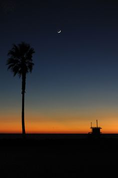 Santa Monica Sunset & Crescent Moon