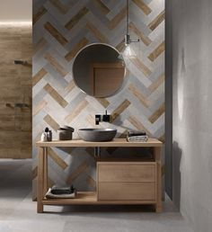 Striking tile designs can add a touch of character to contemporary bathrooms. Bathroom Toilets, Bathroom Renos, Bathroom Furniture, Bathroom Wall, Small Bathroom, Concrete Bathroom, White Bathrooms, Master Bathrooms, Bathroom Remodeling