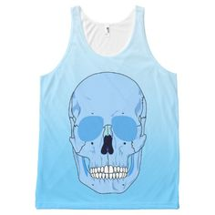 SKULL (BLUE OMBRE) All-Over Print Tank Top Tank Tops