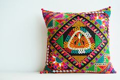 Bright Embroidered Pillow Cover in 16 x 16 inch by anekdesigns