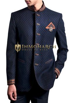 Mens Navy Blue 4 Pc Jodhpuri Suit Bridegroom