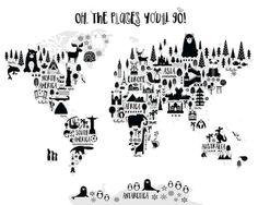 Mapa de mundo animal Print monocromo vivero por PrintasticStudio