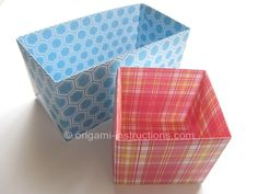 """Origami Baggi Box: A 12""""x12"""" paper produces a 3""""x3""""x6"""" rectangular box (use lid from """"Simple Origami for Kids-Box with Lid"""" Youtube video on this board), and an A4-sized paper gives you a 3""""x3""""x3"""" box (Need to figure out a lid for this)."""