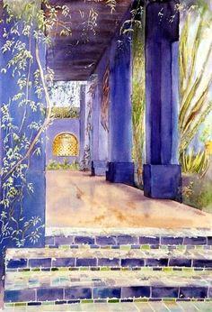 Maroc - Majorelle, tonnelle bleue - Peinture ©2000 par Catherine Rossi -                            Cultures du monde, Marrakech Majorelle
