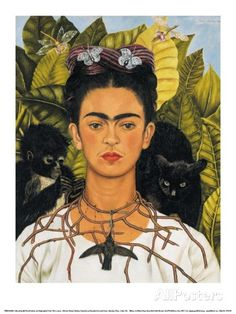 Self-Portrait with Thorn Necklace and Hummingbird, c.1940 Posters by Frida Kahlo at AllPosters.com