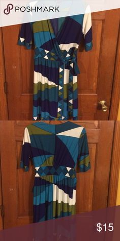 EUC, Very cute wrap around dress, Beautiful color EUC, Very cute wrap around dress, Beautiful color & design, Love this easy style, just throw in jacket & boots. New Direction Dresses Midi