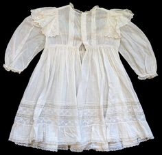 Antique Vintage Victorian Edwardian Childs Lace Christening Gown Baby Doll Dress | eBay