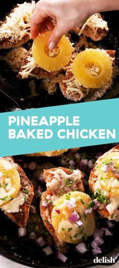 Pineapple Baked Chicken Has Major Hawaiian Pizza Vibes Pineapple Baked Chicken Has Major Hawaiian Pizza VibesDelish Gourmet Recipes, Cooking Recipes, Healthy Recipes, Healthy Nutrition, Healthy Food, Pan Cooking, Nutrition Chart, Nutrition Tips, Healthy Eating