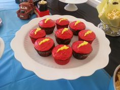 Lightning Bolt McQueen Cupcakes - my son's 3rd birthday party, cars theme