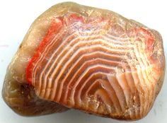 Now I want to go beach walking at Lake Superior! A Lake Superior agate note the banding. Photo by Iowagateman.