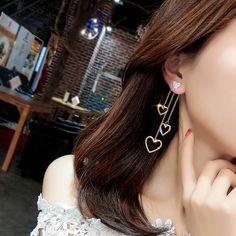 Korean jewelry Hollow heart geometry earrings for women Tassel earrings 2018 gifts Orecchini Brincos Pendientes Oorbellen Fancy Jewellery, Fancy Earrings, Jewelry Design Earrings, Gold Earrings Designs, Ear Jewelry, Stylish Jewelry, Simple Earrings, Simple Jewelry, Cute Jewelry