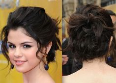 I like the curled pieces of hair framing her face out of the messy bun.  Prom hair idea #3