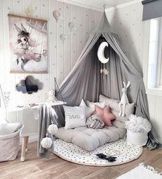 SHOP THE LOOK: Kids Room Decor Ideas to Inspire We all know how difficult it is to decorate a kids bedroom. A special place for any type of kid, this Shop The Look will get you all the kid's bedroom decor ide Cute Room Decor, Baby Room Decor, Bedroom Decor Kids, Decorating Girls Rooms, Decorating Ideas, Decor Ideas, Room Design Bedroom, Bedroom Nook, Baby Room Diy