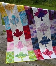 Quilt, Knit, Run, Sew Canadian flag Flag Quilt, Patriotic Quilts, Quilt Blocks, Quilting Projects, Quilting Designs, Sewing Projects, Quilting Tutorials, Quilting Ideas, Canadian Quilts