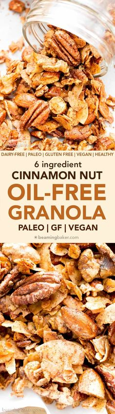 Oil-Free Paleo Cinnamon Nut Granola (V, GF): Crispy, crunchy homemade paleo granola perfectly spiced with warm, cozy cinnamon. #Vegan #GlutenFree #DairyFree #Paleo #Granola #Healthy #Snacks | Recipe on BeamingBaker.com