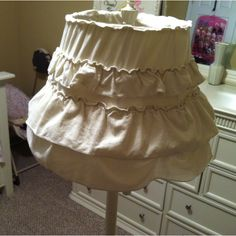 Home Made Lamp Shade, took a ruffled old skirt n recovered an old lamp shade for my soon to be welcomed by the world baby girl!