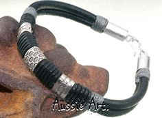 4B-443 Aussie Made Sterling Silver Leather New Bangle Wristband Men Bracelet.