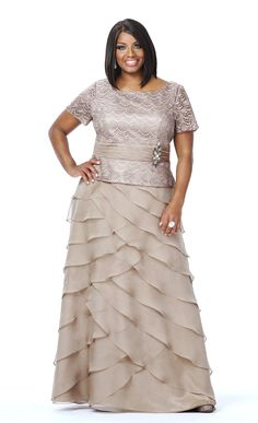 Taupe Tiered Mother of the Bride gown, available in plus size.
